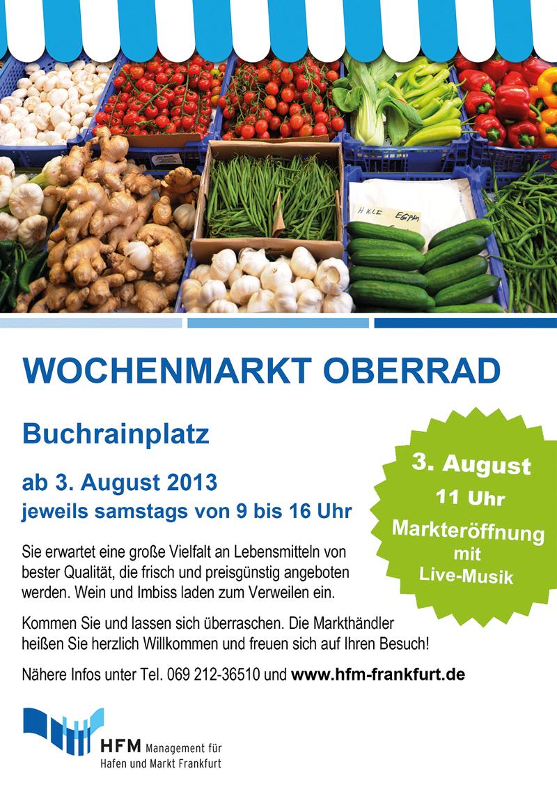 Eröffnung des Wochenmarktes am Buchrainplatz in Oberrad am 03.08.2013.