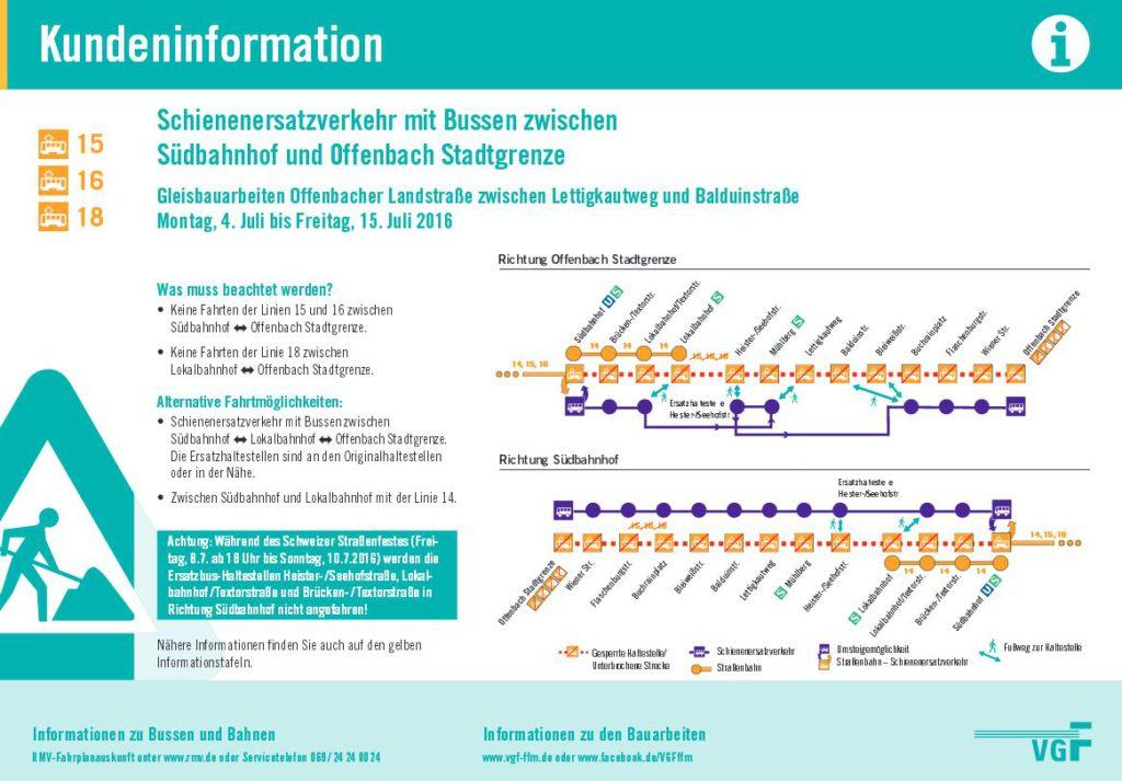 Gleisbauarbeiten Offenbacher Juli 2016