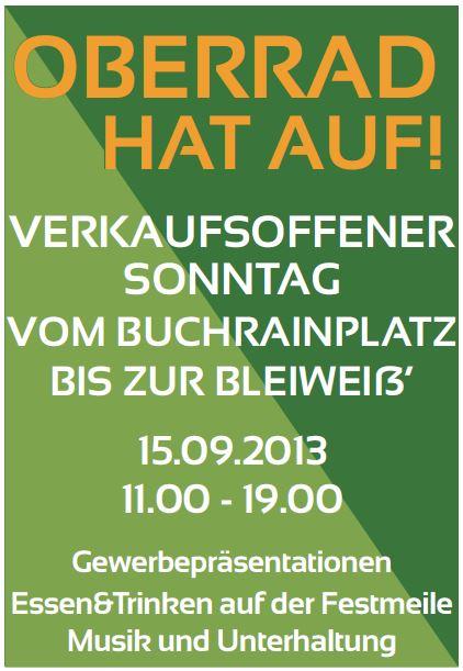 Verkaufsoffener Sonntag in Oberrad am 15.09.2013